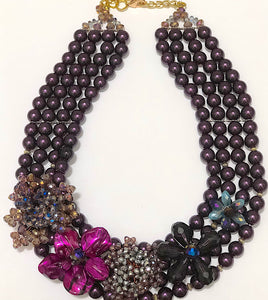 Purple Beaded Statement Necklace