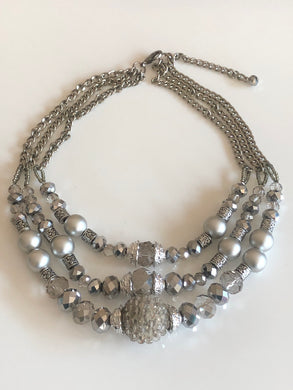 Gray Mixed Beads Multi-Strand Necklace