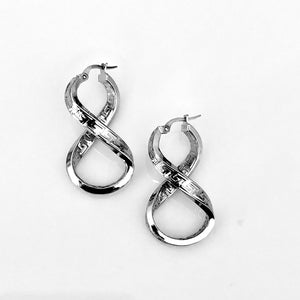 Sterling Silver Greek Key Infinity Earrings