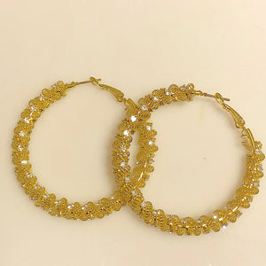 Goldtone Wire Mesh Hoop Earrings