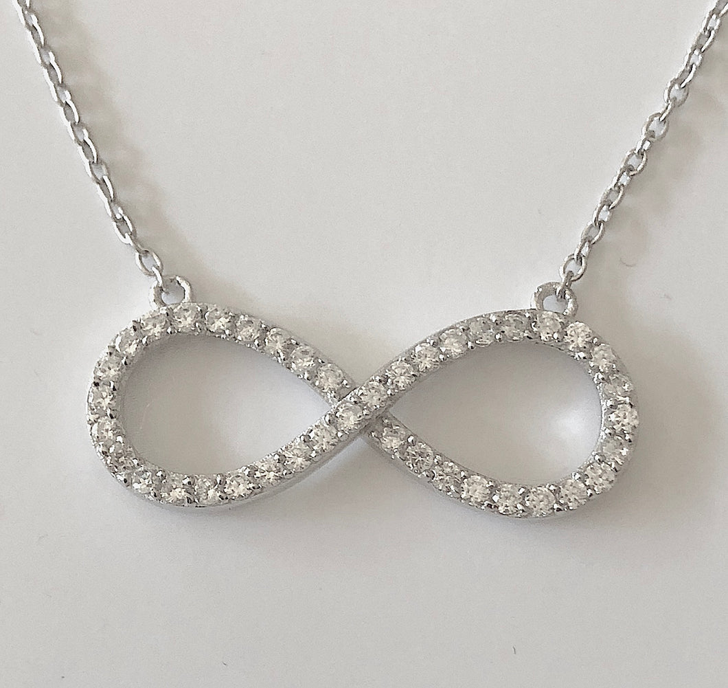 Sterling Silver CZ Infinity Pendant Necklace