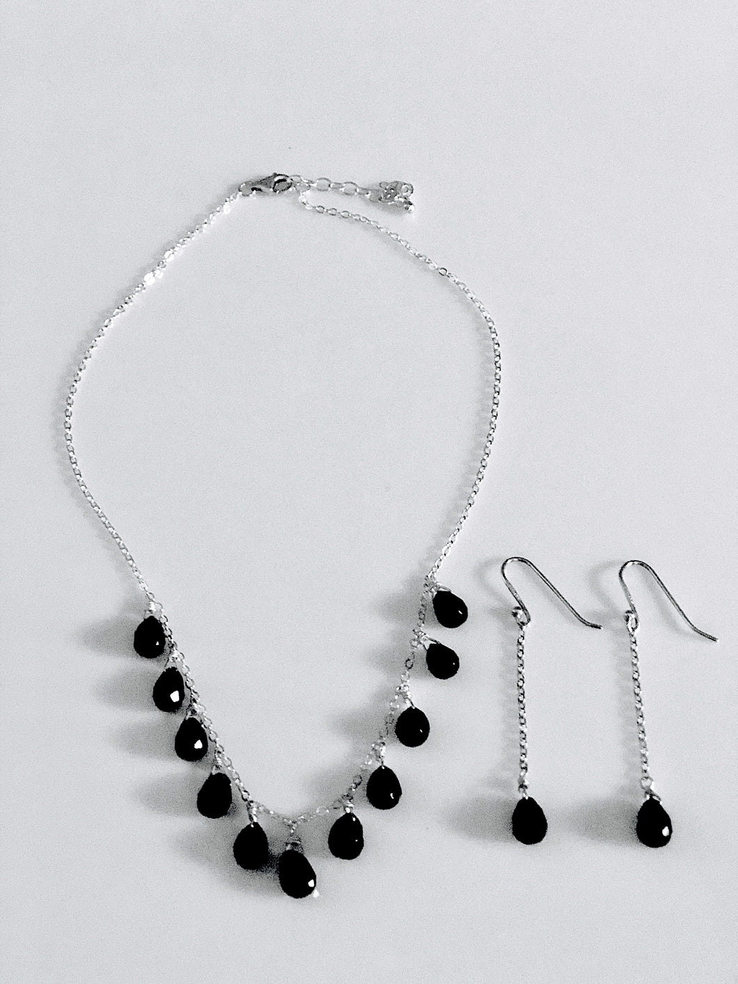 Sterling Silver Briolette Onyx Pendants Necklace and Earrings