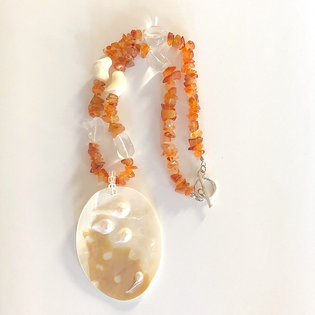 Mother of Pearl Shell Pendant on Nuggets Necklace