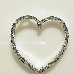 Sterling Silver Green CZ Open Heart Pendant