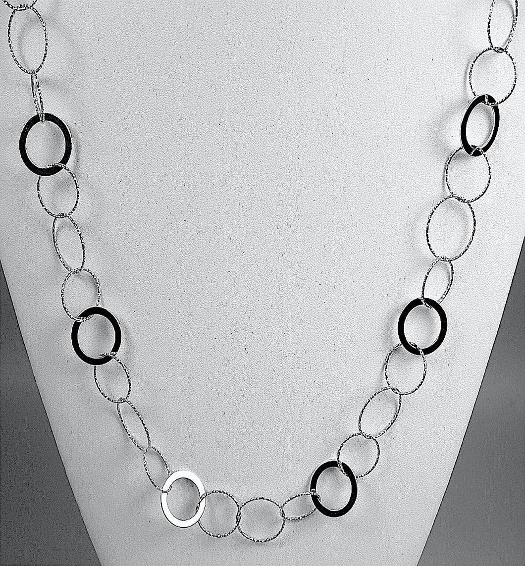 Sterling Silver Circle Links Necklace