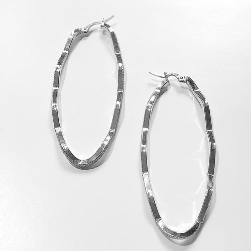 Sterling Silver Wavy Hoop Earrings