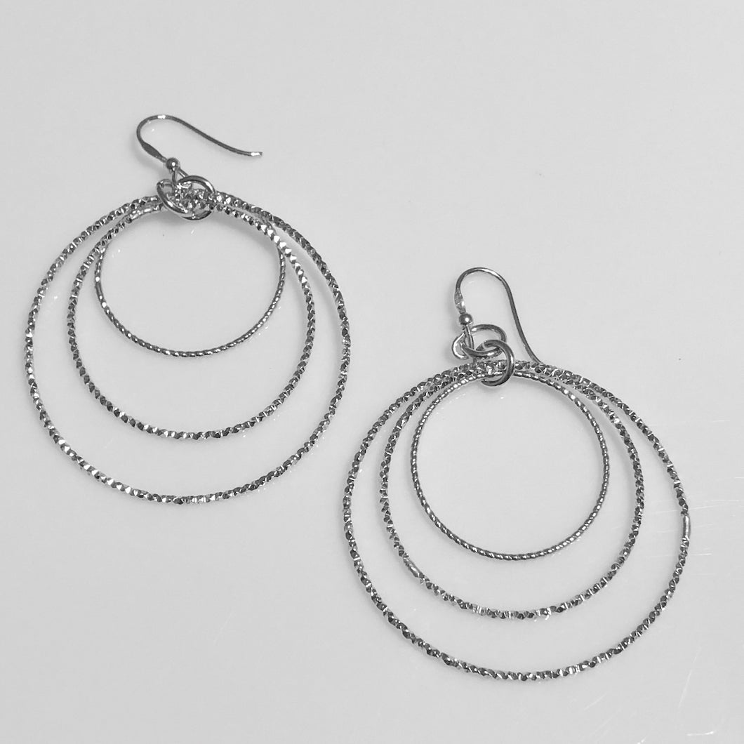 Sterling Silver Triple Circles Wire Earrings