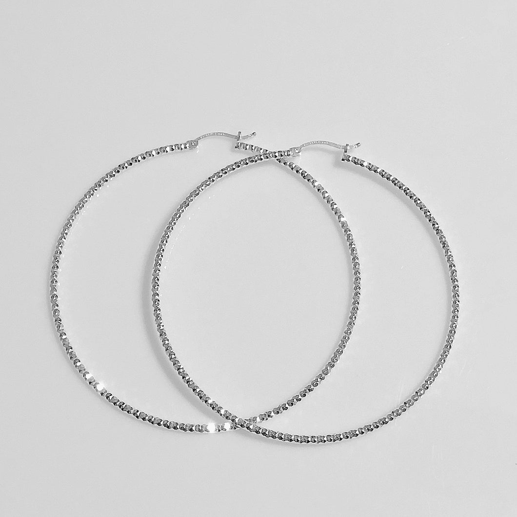 Large Sterling Silver Thin Hoop Earrings