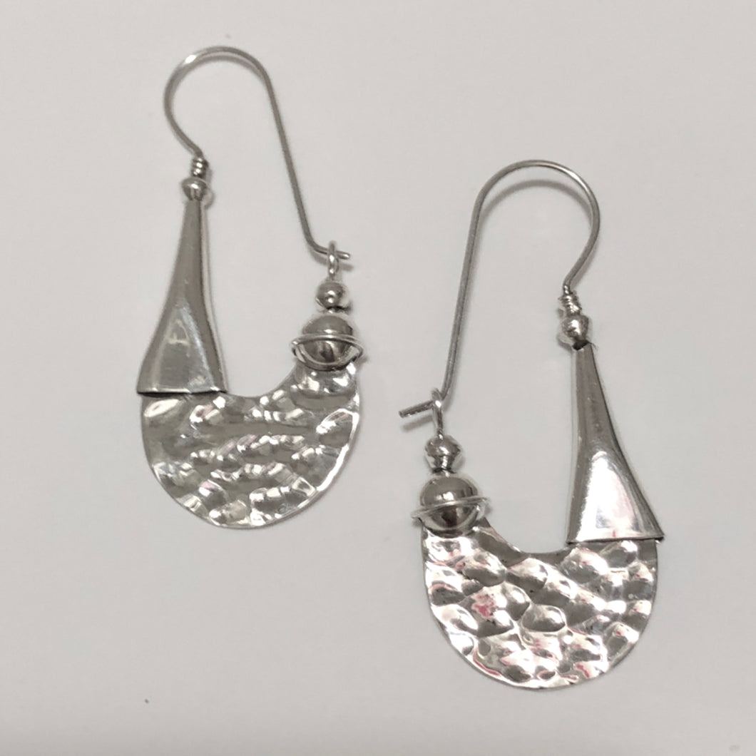 Hammered Modern Design Sterling Silver Earrings