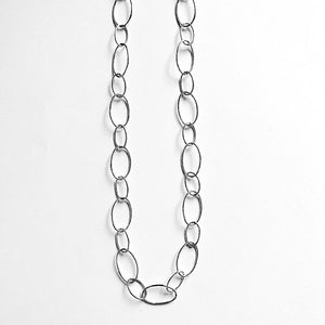 20 Inch Sterling Silver Circle Links Necklace