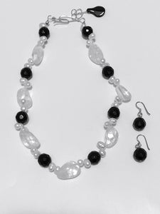 Rock Crystal and Black Onyx Necklace and Earrings Set