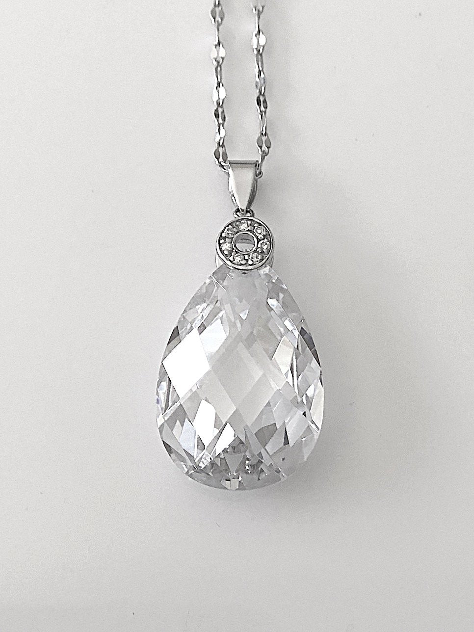 Faceted Teardrop Crystal Pendant in Sterling Silver