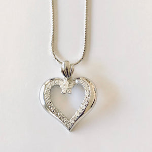 Sterling Silver CZ  Open  Heart Pendant