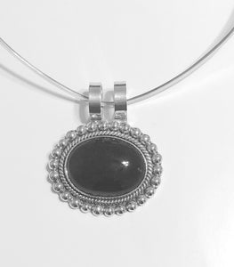 Sterling Silver Onyx Oval Pendant