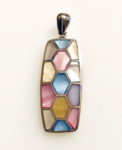 Mosaic Mother of Pearl Inlay Sterling Silver Pendant