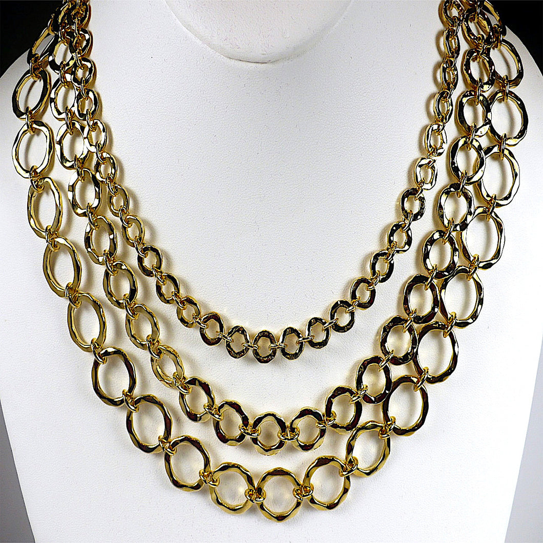 Gold Tone Multi-Strand Circle Linked Necklace Set
