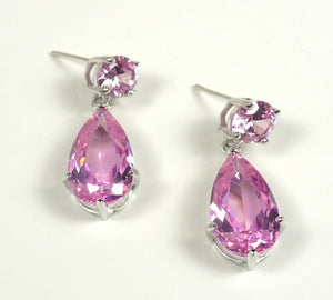 Pink CZ Sterling Silver Drop Earrings