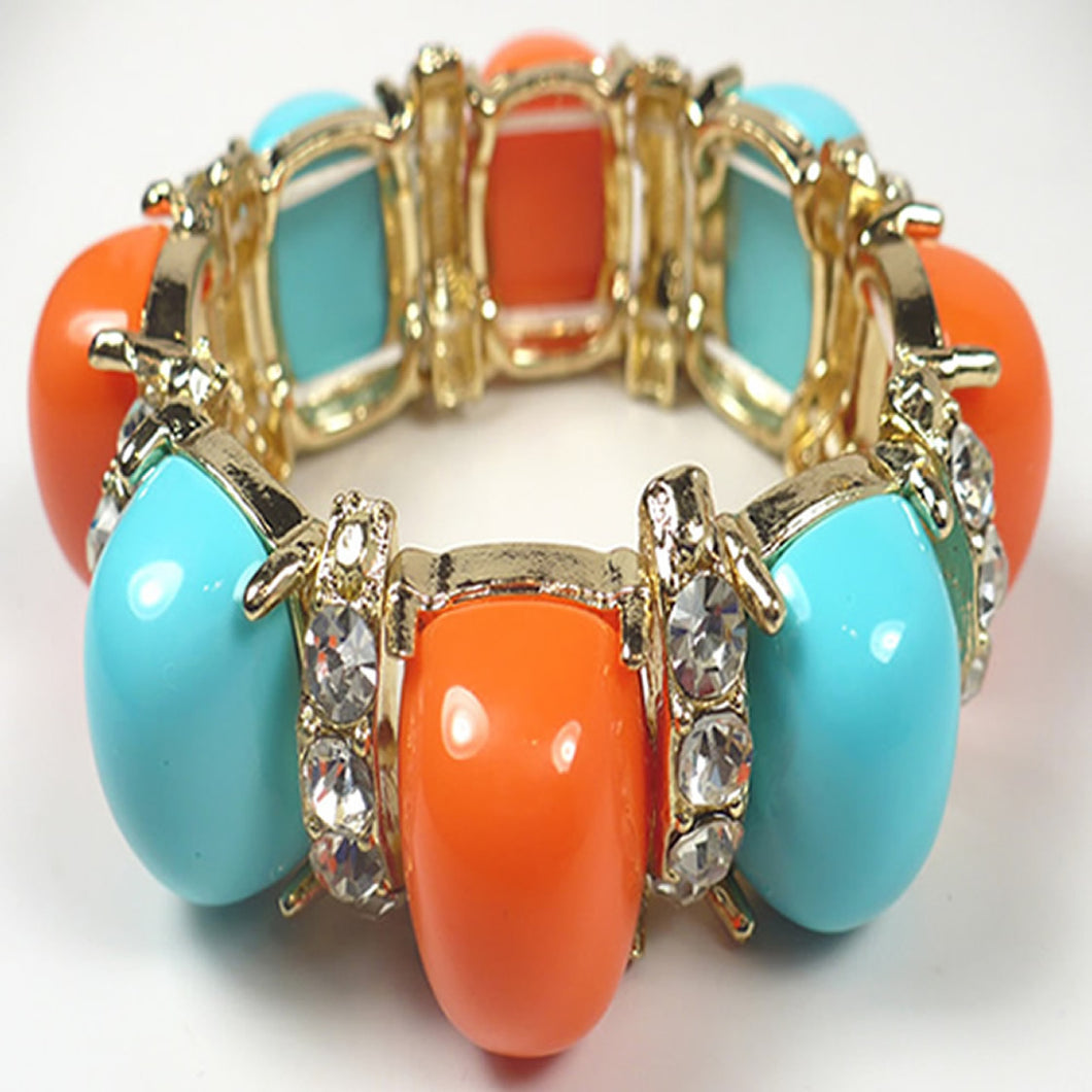 Coral and Turquoise Cabochon Stretch Bracelet