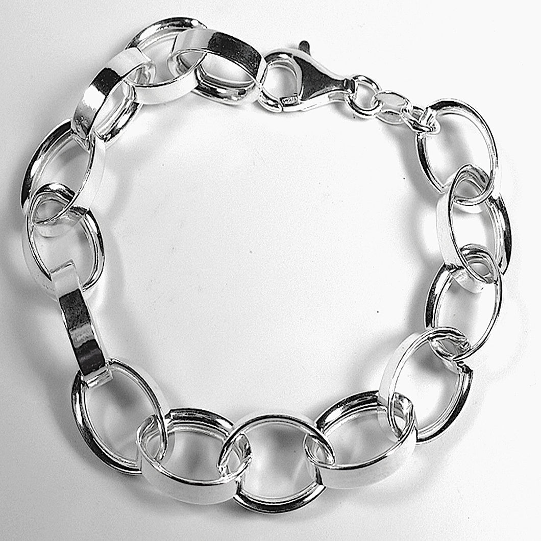 Italian Sterling Silver Rolo  Links Bracelet (8 inches)