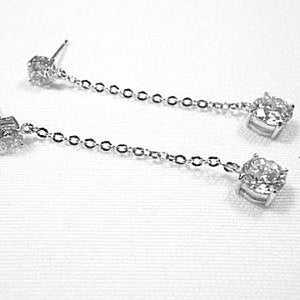 Sterling Silver CZ Line Drop Earrings