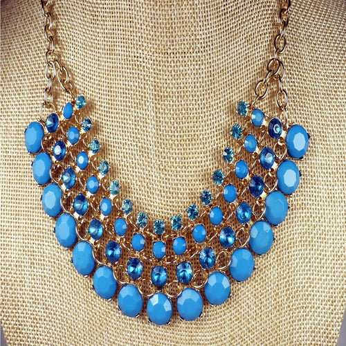 Teal Beaded Bib Necklace Set