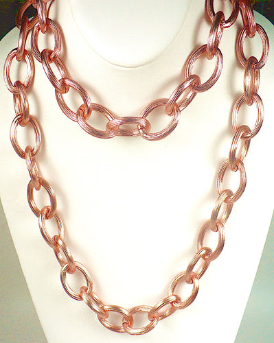 Long Rose Gold Cable Link Chain Necklace