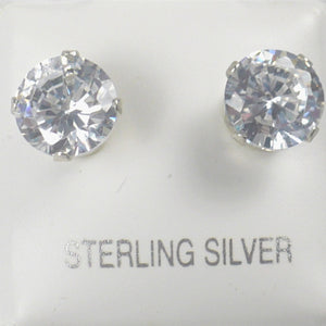 Sterling Silver 6 mm Clear CZ Stud Earrings