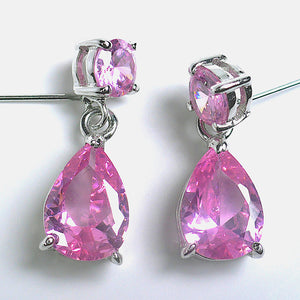 Pink Crystals Silvertone Dangle Earrings