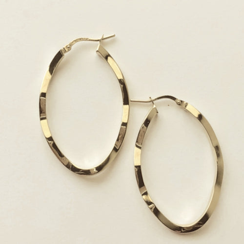 Yellow Gold Plated Wave Hoop Earrings