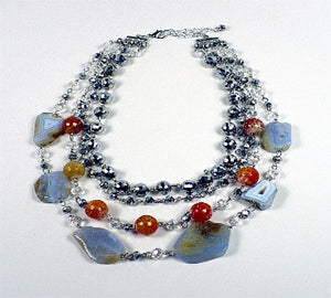 Multi Strand Gray, Orange and Silver Beaded Necklace