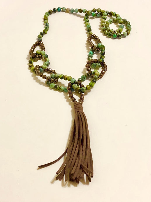 Green Jasper Beads Tassel Necklace