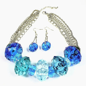 Chunky Bead Necklace and Earrings Set