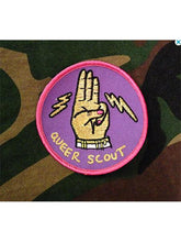 Load image into Gallery viewer, Queer Scout Badge on Camo