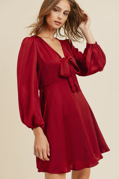Gracelyn Satin Front Tie Dress [S,M,L]
