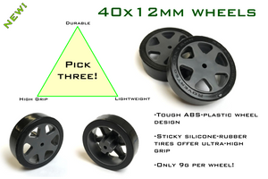 Silicone rubber tires on strong ABS plastic wheels