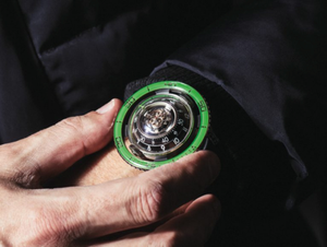 Inspired by jelly fish, the newest MB&F HM7 Aquapod is crafted in titanium with Green bezel.