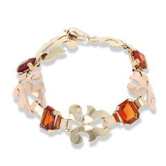 20156  Vintage hand-made Citrine and gold bracelet circa 1940s, Retro era, set with 32.00 total carats of emerald cut citrines in 14 karat green and rose gold.