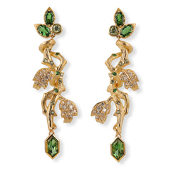 29318 18kt yellow gold branch style earrings with 1.39 total carats of lozenge cut green tourmalines, 1.23 total carats of tsavorite garnets, 0.45 total carats of green sapphires, 0.28 total carats of demantoid garnets, and 0.63 total carats of round brilliant cut diamonds