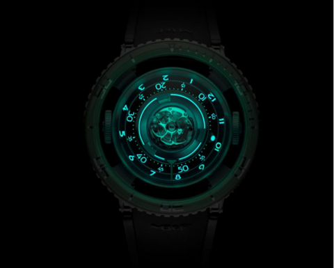MB&F HM7 Aquapod Titanium with Green bezel glows green in the dark.