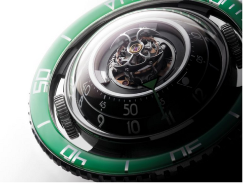 MB&F HM7 Aquapod Titanium with Green bezel.