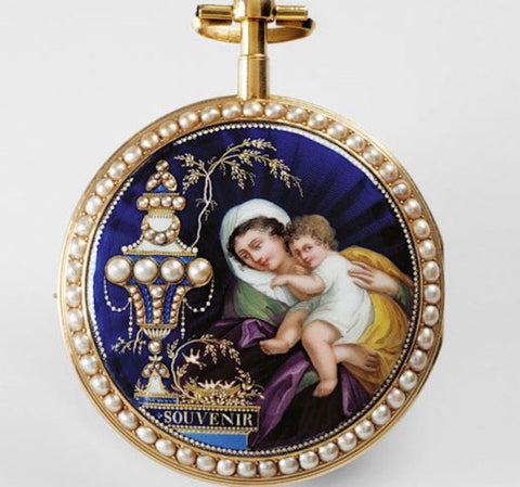 Young woman and child next to an urn marked Remembrance, automaton watch (c. 1810)
