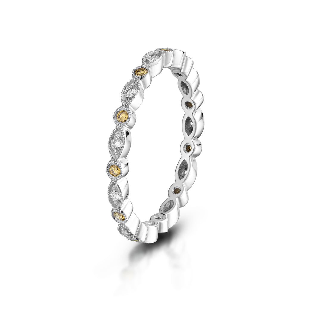 White and Yellow Diamond Eternity Band