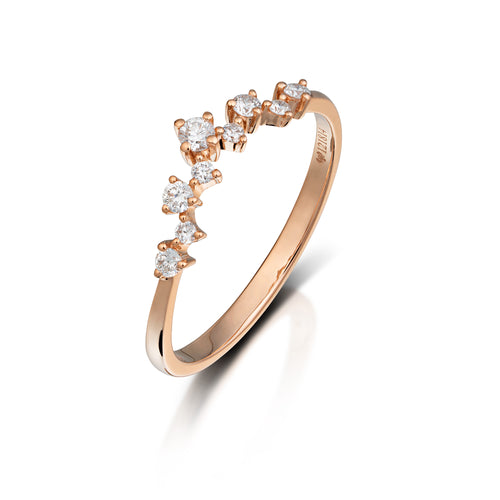Rose Gold Diamond Chevron Band