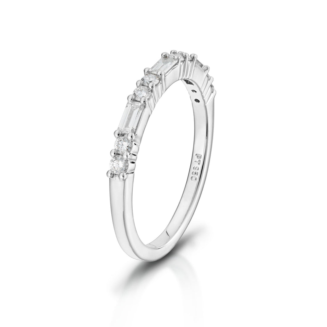 Baguette and Round Brilliant Diamond Band