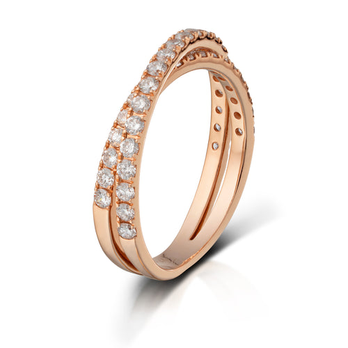 Rose Gold Diamond Crossover Band