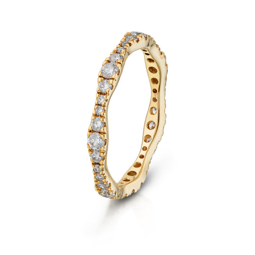 Yellow Gold Scalloped Eternity Band