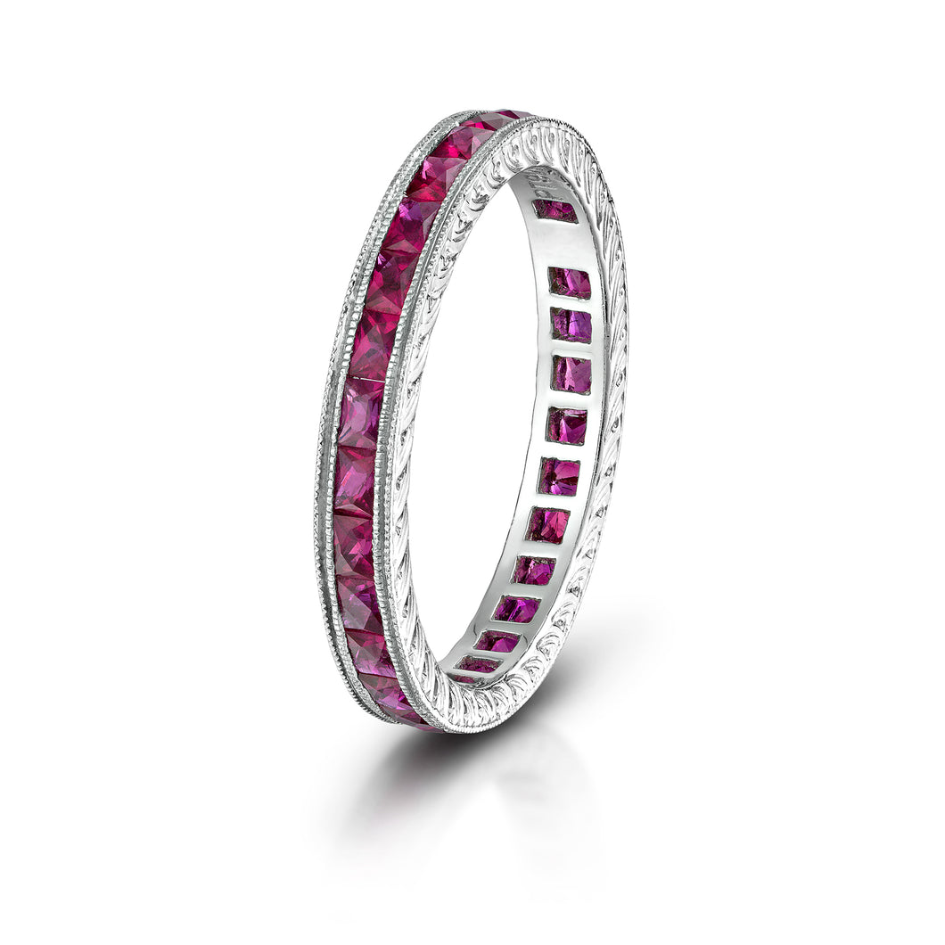 Platinum Ruby Eternity Band