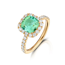 Mint Tourmaline Yellow Gold Halo Ring