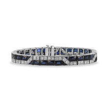 French Cut Sapphire and Diamond Bracelet