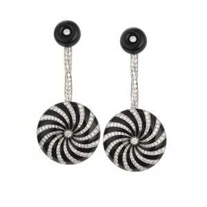 Diamond and Enamel Pinwheel Earrings
